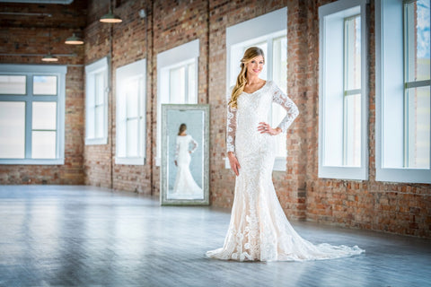 mon cheri modest wedding dresses with sleeves illusion lace LDS bridal gown cheap