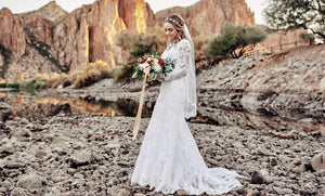 A Large In-Store Inventory of modest lace wedding dresses at A Closet Full of Dresses