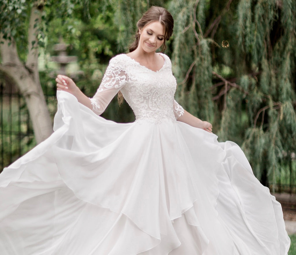 Modest wedding dresses with sleeves lace illusion sleeves for plus size cheap LDS bridal