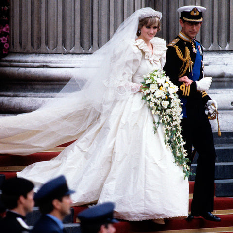 Princess diana 1980s modest wedding dress with sleeves lace