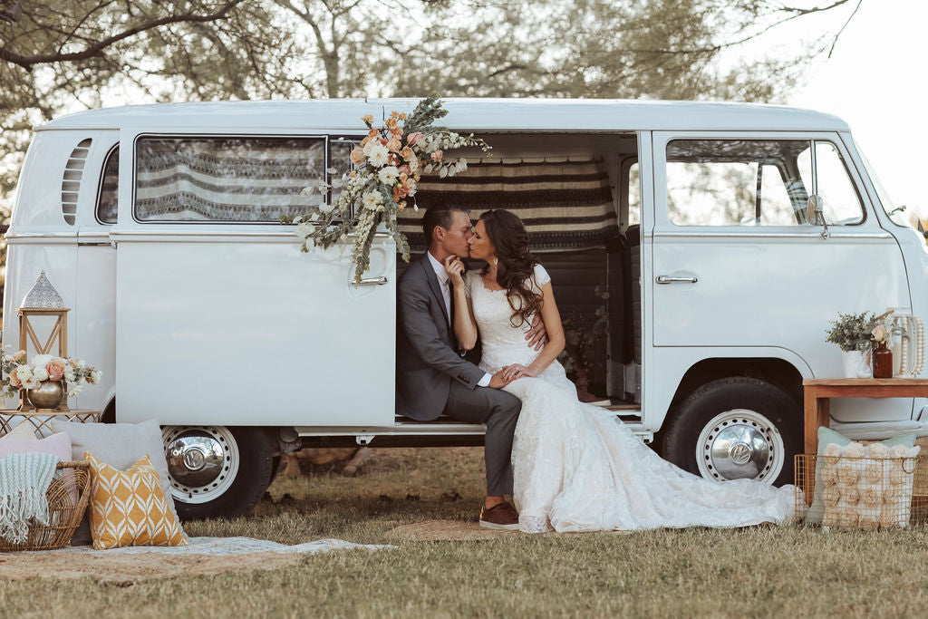 Love at the VW bus modest wedding dress with sleeves lace bridal gown LDS for plus size