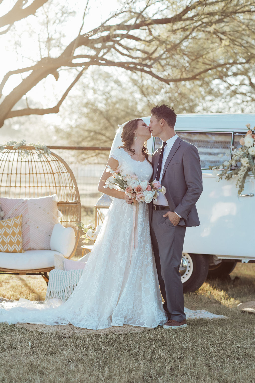 VW Bus Shoot modest wedding dresses lace for plus size LDS