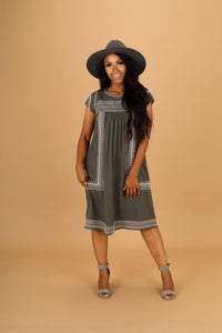 Christine Modest Moss Green Casual Dress from A Closet Full of Dresses