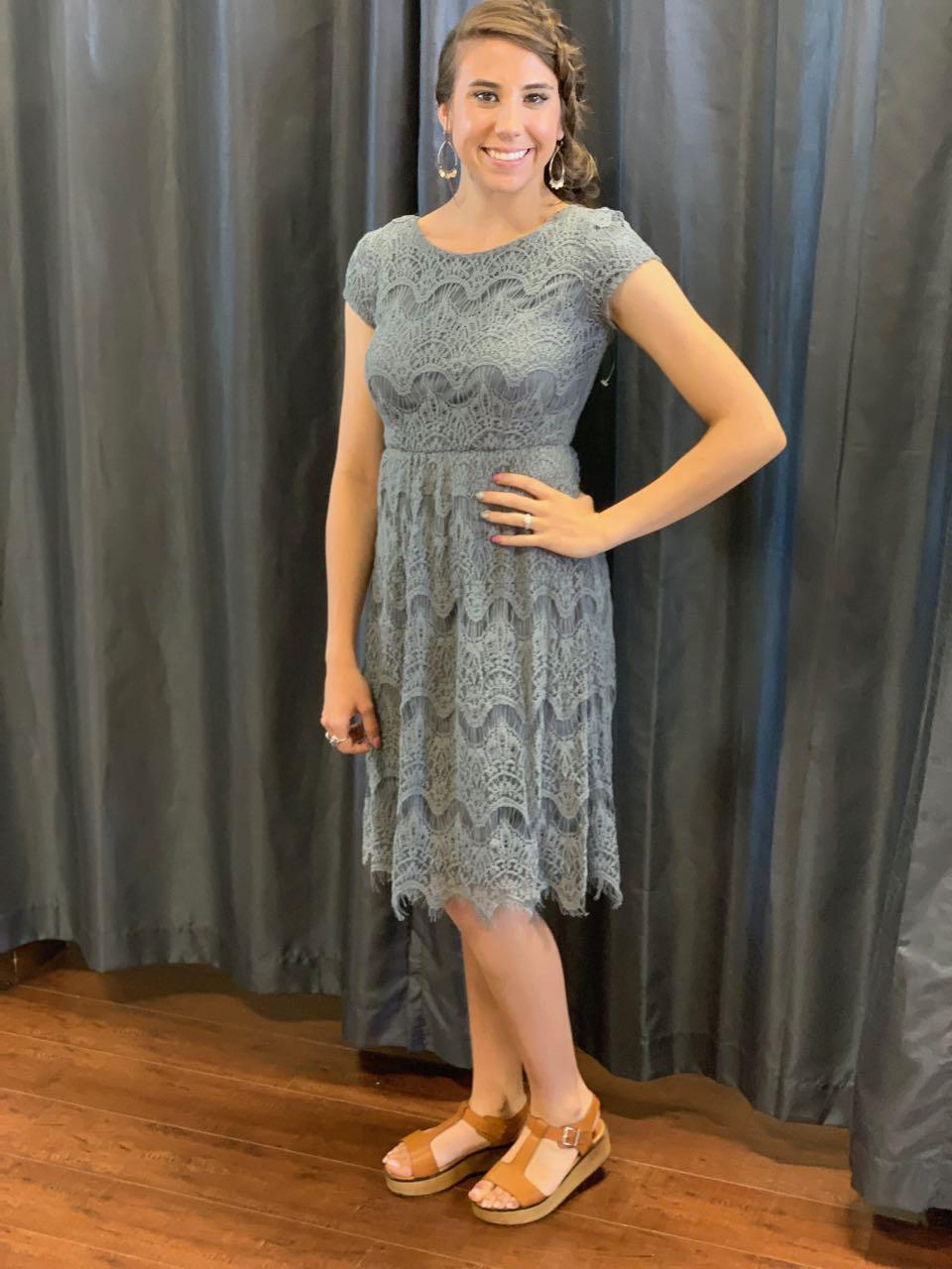 Taryn Charcoal Modest Bridesmaids Dress from A Closet Full of Dresses
