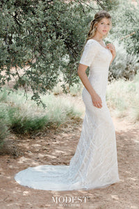 TR12022  LDS modest wedding dresses lace 3/4 sleeves fitted lace bridal gown for plus size side view
