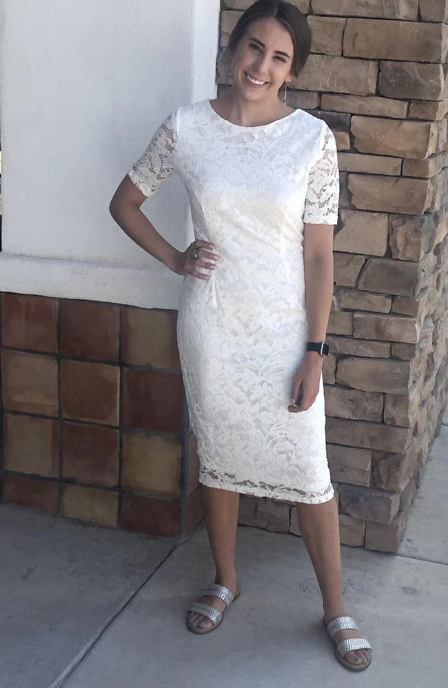 Addy Ivory Lace Modest Bridesmaids Dress from A Closet Full of Dresses