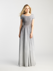 MJ 20-500M Grey modest prom dress with sleeves mormon prom LDS formal gown for plus size
