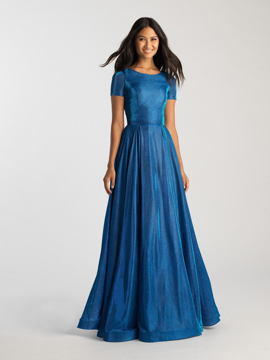 MJ19-261 modest prom dress royal blue gold formal gown with sleeves