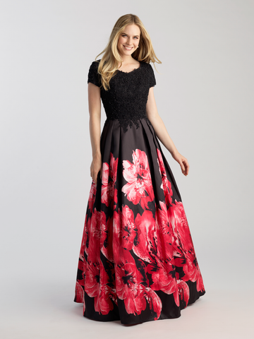 Red floral on black modest prom dress with sleeves ball gown LDS formal dress for plus size