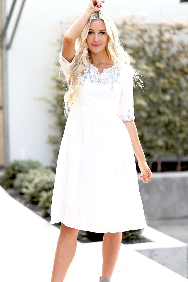 Abigail White Modest Casual Dress from A Closet Full of Dresses