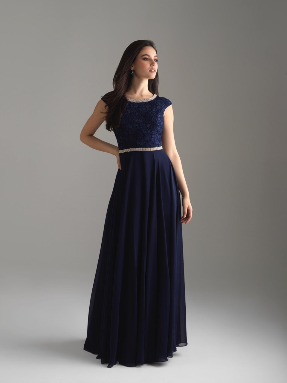 Madison James 18-802M Navy modest prom dress A-Line winter formal cap sleeves cheap Mormon Prom conservative