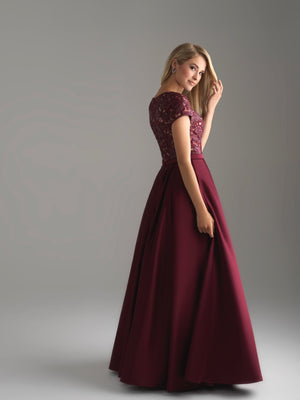 Madison James 18-804M wine back modest prom dress A-Line winter formal cap sleeves cheap Mormon Prom conservative