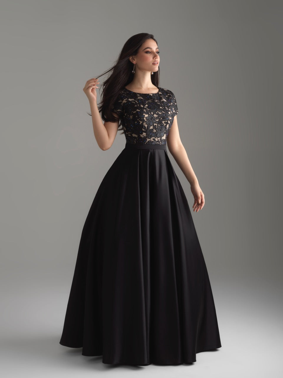Madison James 18-804M black modest prom dress A-Line winter formal cap sleeves cheap Mormon Prom conservative