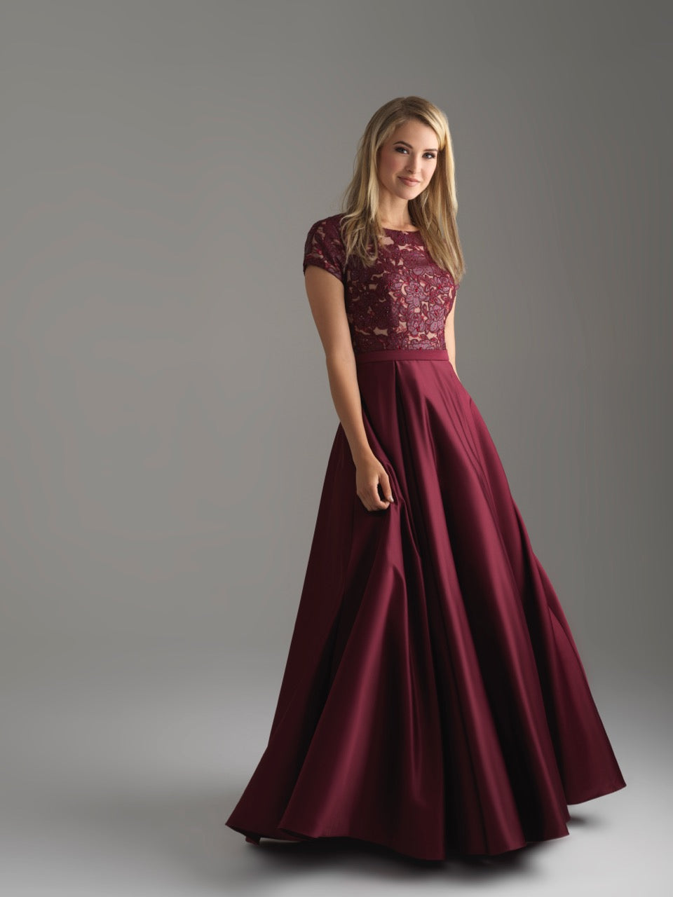 Madison James 18-804M wine modest prom dress A-Line winter formal cap sleeves cheap Mormon Prom conservative