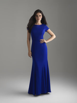 Madison James 18-805M Blue Glam modest prom dress A-Line winter formal cap sleeves cheap Mormon Prom conservative
