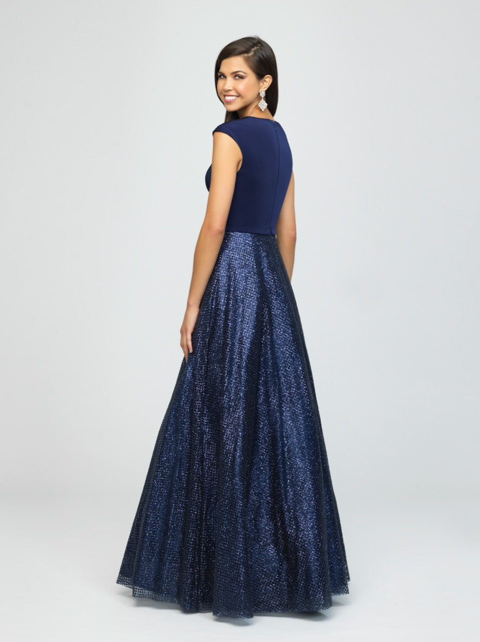 madison james 19-250M navy modest prom dress with sleeves ball gown sparkle cheap plus size back view