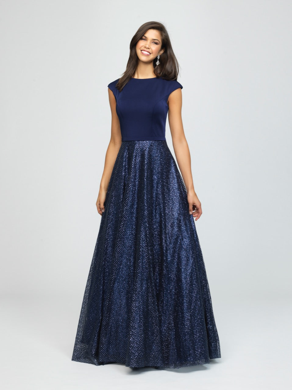 madison james 19-250M navy modest prom dress with sleeves ball gown sparkle cheap plus size