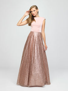 madison james 19-250M rose gold modest prom dress with sleeves ball gown sparkle cheap plus size