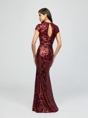 madison james 19-253M burgundy modest prom dress with sleeves fitted long sparkle cheap plus size back view