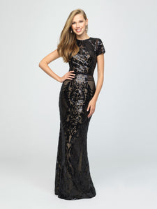 madison james 19-253M black modest prom dress with sleeves fitted long sparkle cheap plus size