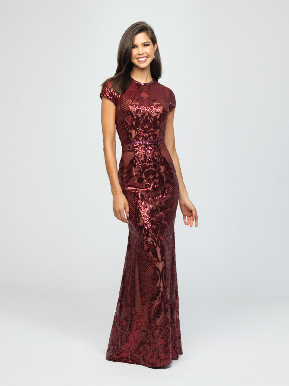 madison james 19-253M burgundy modest prom dress with sleeves fitted long sparkle cheap plus size