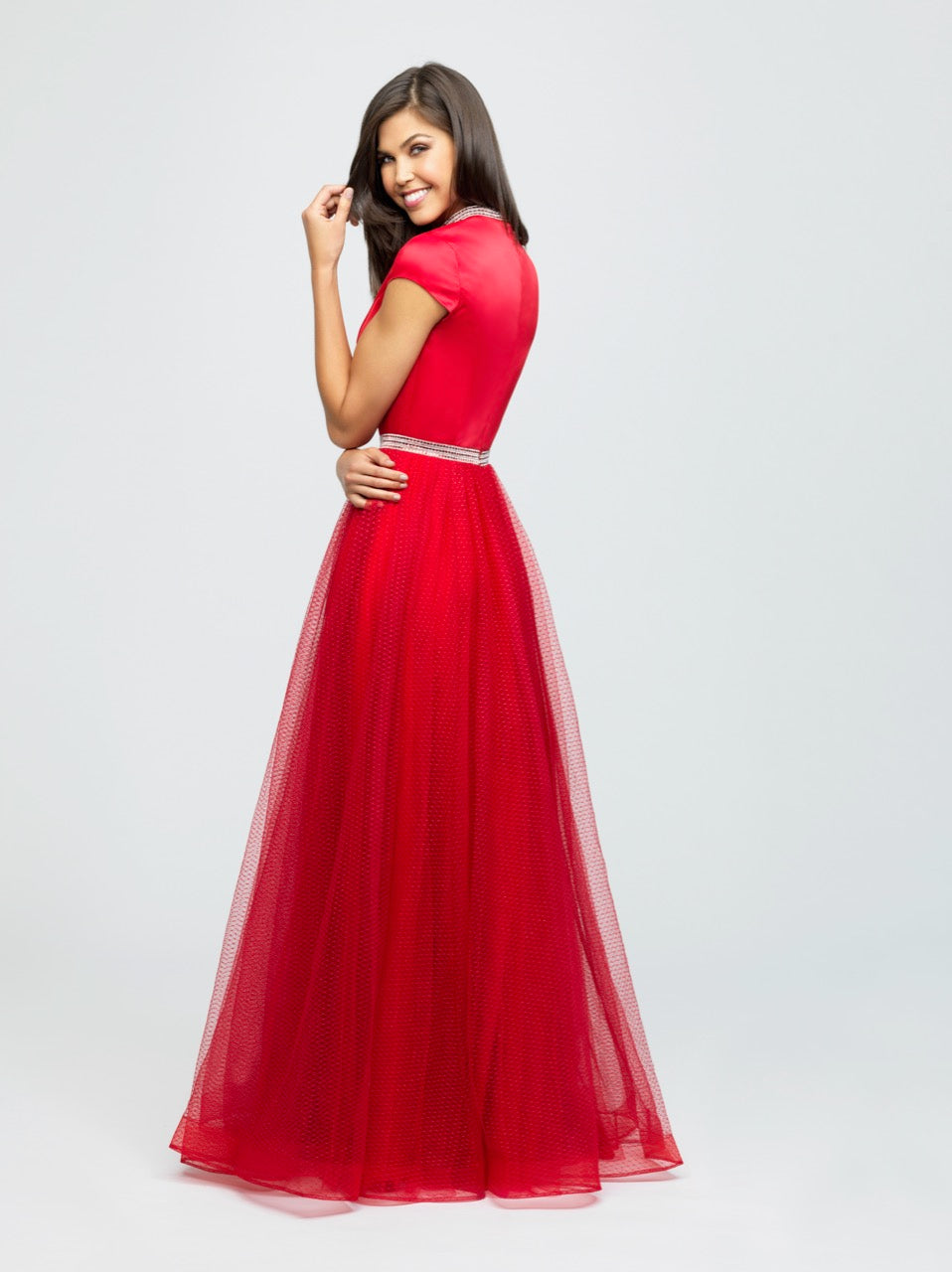 madison james 19-255M red modest prom dress with sleeves ball gown with belt long cheap plus size back