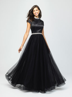 madison james 19-255M black modest prom dress with sleeves ball gown with belt long cheap plus size