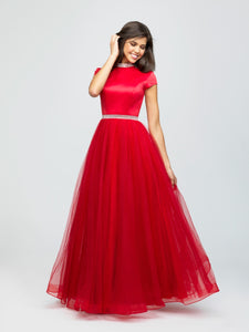 madison james 19-255M red modest prom dress with sleeves ball gown with belt long cheap plus size