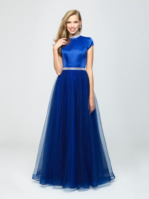 madison james 19-255M royal blue modest prom dress with sleeves ball gown with belt long cheap plus size