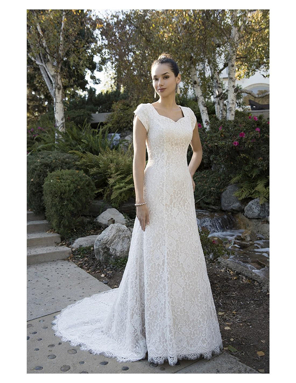 TB7697 modest wedding dress with cap sleeves sweetheart neckline lds temple bridal gown