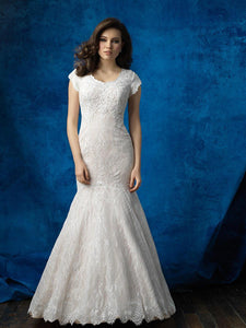 Allure M565 Modest Wedding Dress fit and flare with sleeves elegant lace LDS bridal gown