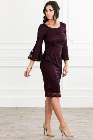 April Raisin Lace Modest Bridesmaids Dress