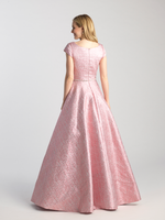 MJ 20-503M modest sparkle pink prom dress with sleeves ball gown works for plus size LDS formal