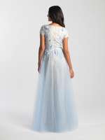 MJ 20-505 lite blue modest prom dress with sleeves lace LDS formal gown for plus size back