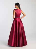 MJ 20-506M burgundy Modest Prom Dress Ball Gown for plus size LDS formal back
