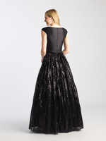 MJ 20-509M Black modest prom dress with sleeves cap ball gown sequins LDS formal gown for plus size