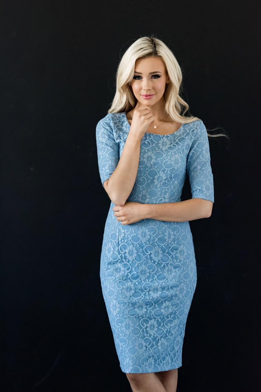 June Lace Blue Modest Bridesmaids Dress from A Closet Full of Dresses