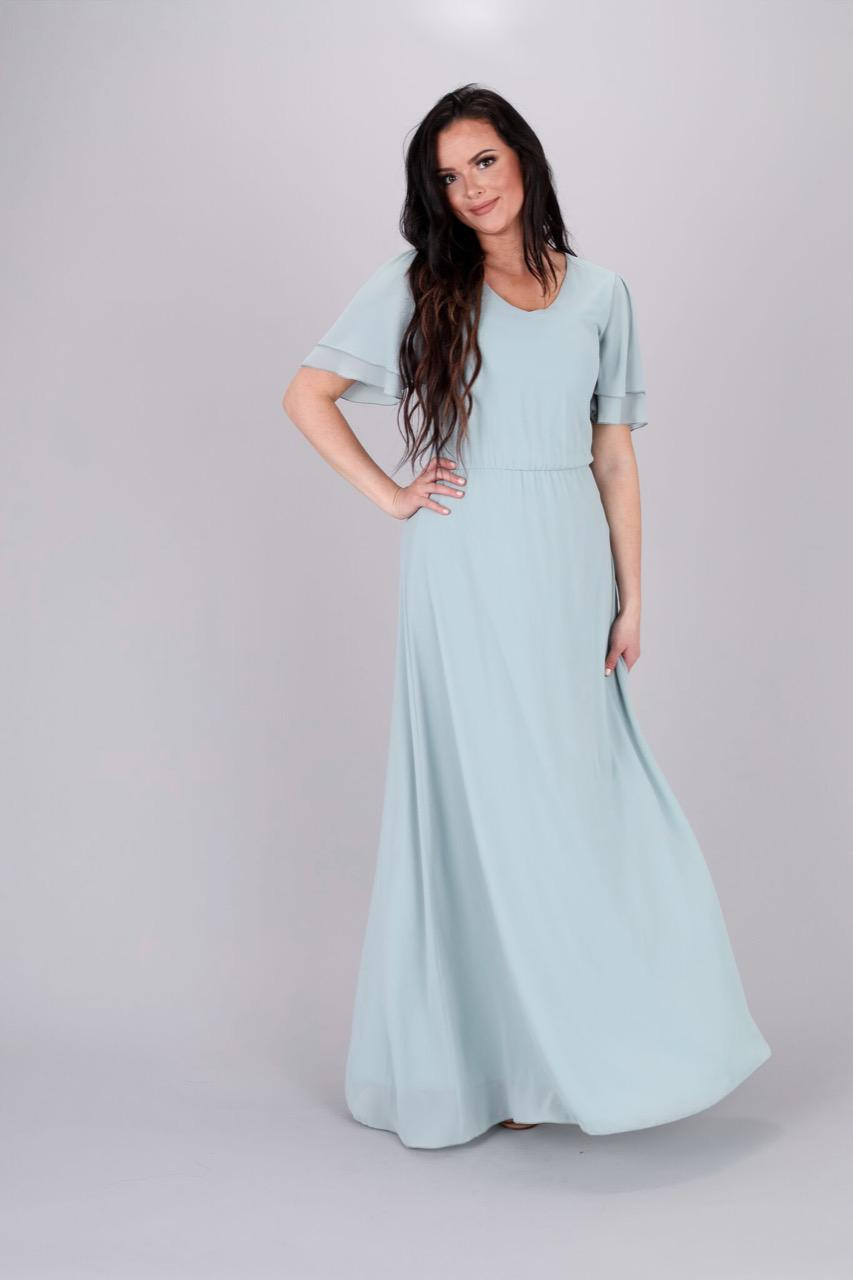 Chloe Long Chiffon Maxi Dress in Sage Color modest casual bridesmaids with sleeves