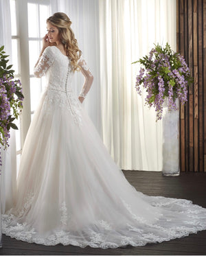 Bonny Bridal 2725 Modest Wedding Dress Bliss Collection back view from A Closet Full of Dresses
