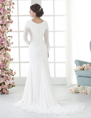 Bonny Bridal 2802 Modest Wedding Dress Bliss Collection Back view from A Closet Full of Dresses