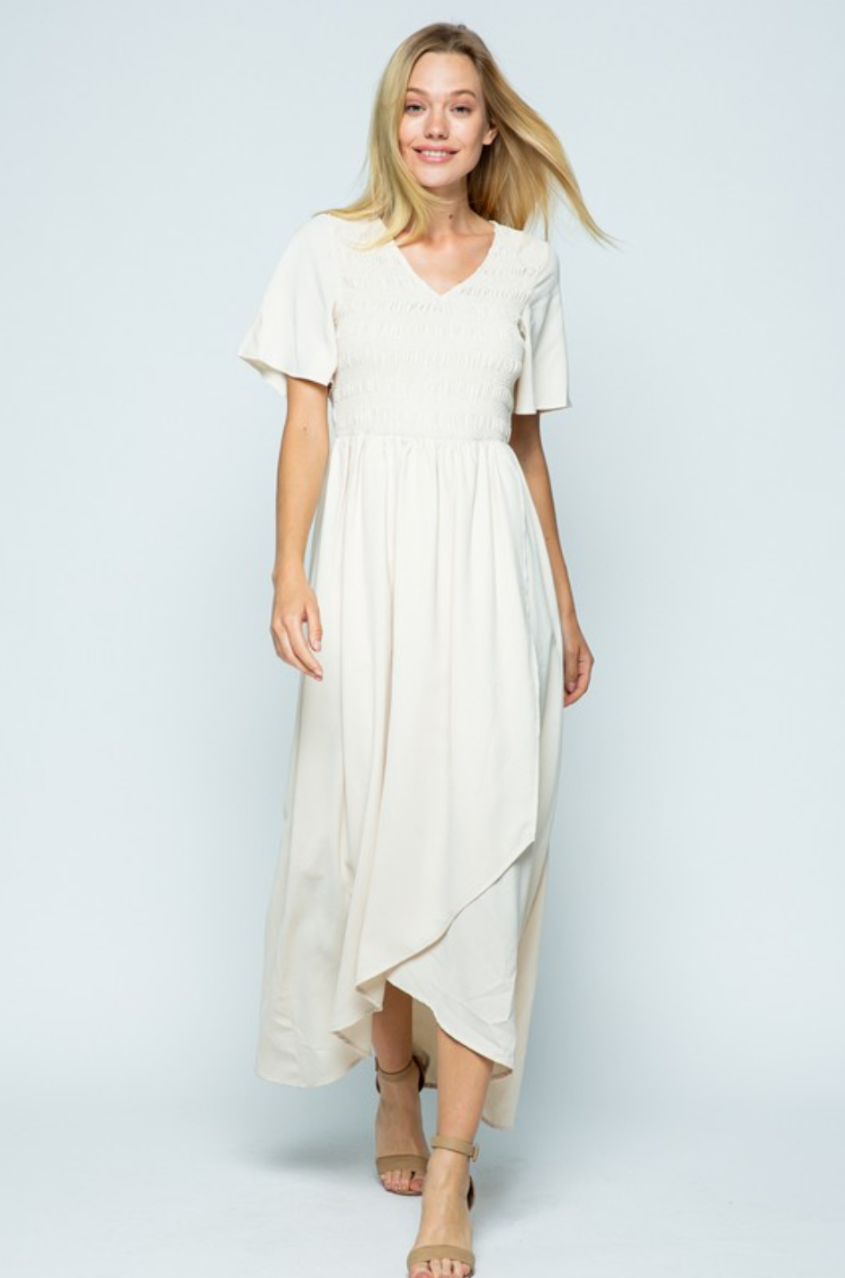 Juliet Grey Hi/Lo Modest Maxi Dress
