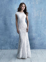 Allure Bridals M631 modest wedding dress with cap sleeves slim fitted LDS temple bridal gown for plus size