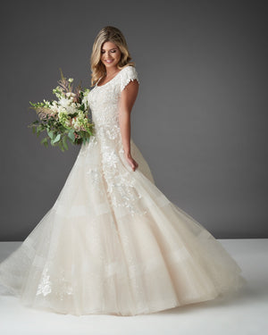 Bonny Bridal 2911 Modest Wedding Dress Bliss Collection flower view from A Closet Full of Dresses