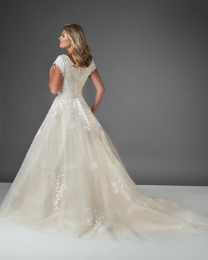 Bonny Bridal 2911 Modest Wedding Dress Bliss Collection back view from A Closet Full of Dresses