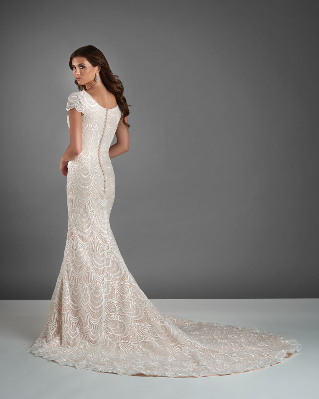 Bonny Bridal 2912 Modest Wedding Dress Bliss Collection back view from A Closet Full of Dresses
