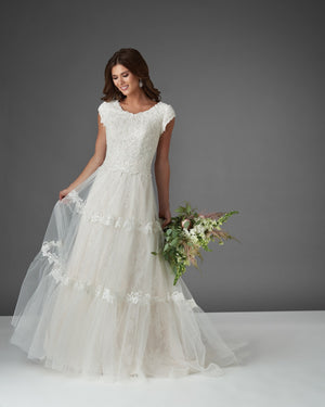 Bonny Bridal 2915 Modest Wedding Dress Bliss Collection flare from A Closet Full of Dresses