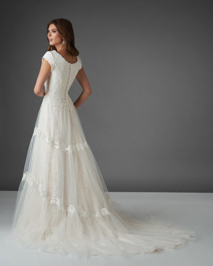 Bonny Bridal 2915 Modest Wedding Dress Bliss Collection back view from A Closet Full of Dresses