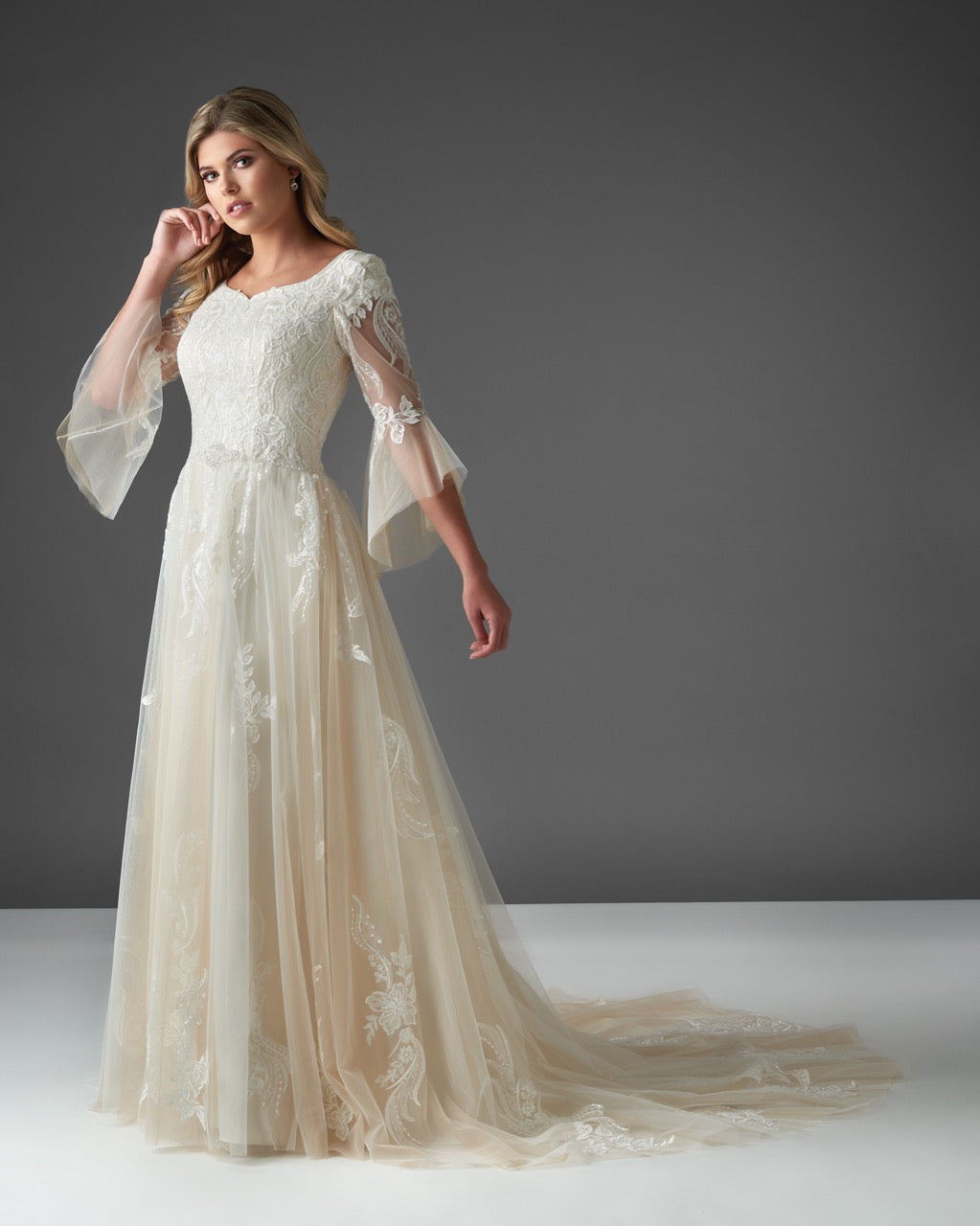 Bonny Bridal 2921 Modest Wedding Dress