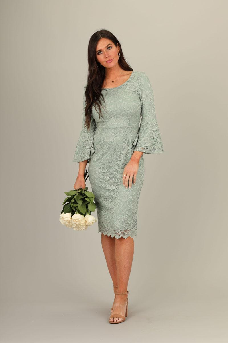Mikarose April Bell Sleeves Lace Sage Modest Bridesmaids Dress from A Closet Full of Dresses