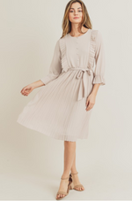 Eloise pleated modest casual dress with long sleeves knee length scoop neck for plus size